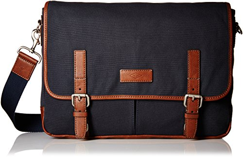 Price comparison product image Fossil Graham East West Fabric Navy Messenger Bag, Navy