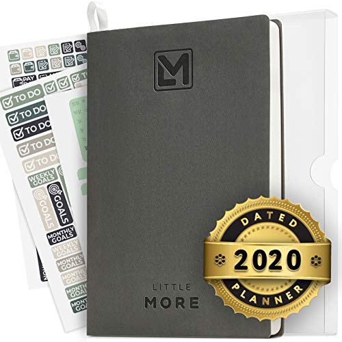 "2020 Daily Organizer Planner in Protect Box - Full Year Dated Productivity Planner for Achieve Goals - A5 Vegan Leather 5.5""x8.5"" - Calendar Stickers 2020"