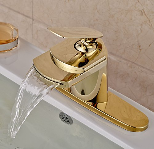 7 Faucet Finishes For Fabulous Bathrooms: Rozin Gold Finish Waterfall Spout Single Lever Bathroom