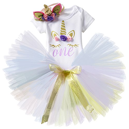 TTYAOVO Baby Girl 1st Birthday 3pcs Sets with Unicorn Headband & Romper & Skirts Size 1 Years Purple]()