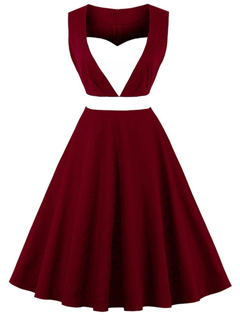 Killreal Women's Sleeveless 1950s Vintage Cocktail Party Patchwork Retro Dress Wine Red Medium