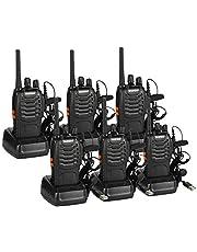 BAOFENG PMR PMR4461500 mAh radio, 16CH walkietalkie oplaadbaar pMRR radiosystemen, met headset, licentievrij (6 stuks)