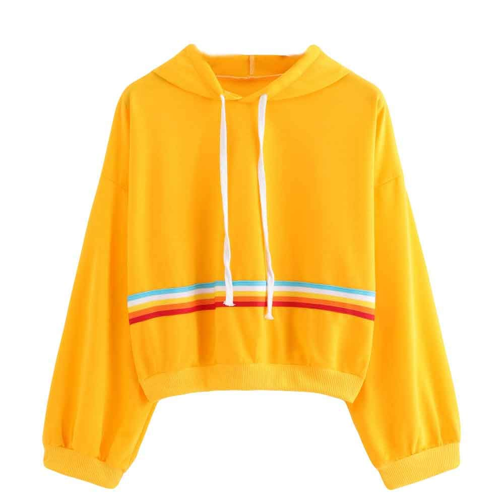 OCASHI Girls Hoodies, Women Varsity Striped Long Sleeve Pullover Crop Top Drawstring Crop Jumper Hooded Sweatshirt (M, Yellow)