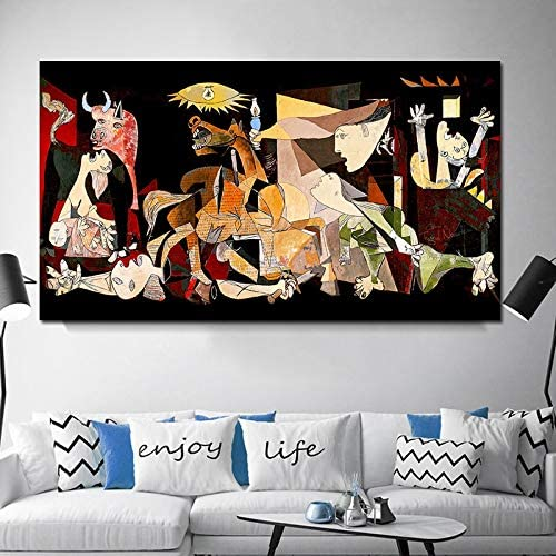 wtnhz Senza Telaio Spagna Francia Picasso guernica Vintage Classico Germania Figura Tela Arte Stampa Pittura Poster Immagini a Parete per la Decorazione Domestica 50x100cm