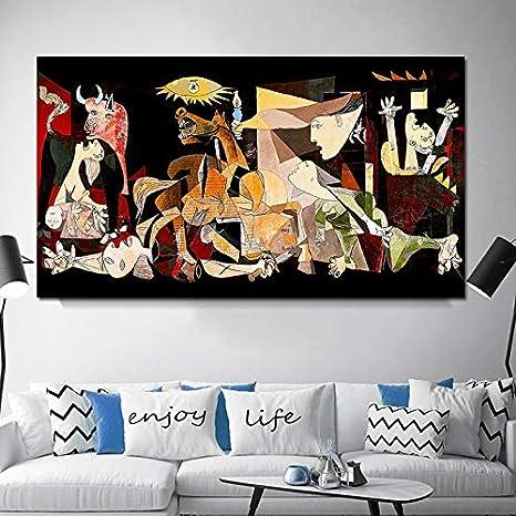 JIAYOUHUO España Francia Picasso Guernica Vintage clásico Alemania Figura Lienzo Arte impresión Pintura Cartel Pared Cuadros para decoración del hogar60x120cm