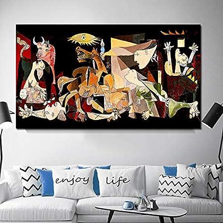 PSpXU España Francia Picasso Guernica Vintage clásico Alemania Figura Lienzo Arte impresión Pintura Cartel Pared Cuadros para decoración del hogar-Sin marco-50X100cm: Amazon.es: Hogar