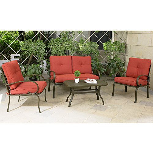 Cloud Mountain 4 Piece Patio Furniture Set Outdoor Conversation Set Cushioned Sofa Set Garden Love Seat Wrought Iron Coffee Table Loveseat Sofa 2 Chairs, Brick Red (Wrought Iron Outdoor Benches)