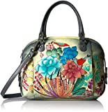 Anuschka Anna Handpainted Leather Zip Top Medium Satchel-Succulent Dreams