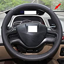 Eiseng Genuine Leather Steering Wheel Cover Stitch On Wrap for 8th 2 Spoke Honda Civic 2007 2008 2009 2010 2011 DIY Sew Black leather with Black thread