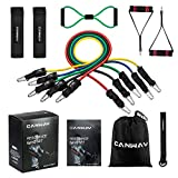 CANWAY 12Pcs Resistance Bands Set Workout Bands, Rehab Bands, Heavy Duty Exercise Tubes Bands Fitness Band with Handles, Door Anchor, Ankle Strap, Resistance Loop Bands for Gymnastic, Physical Therapy