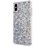 Software : ikasus Case for iPhone Xs Max Case Glitter Bling Crystal Sparkly Shiny Bling Powder 3D Diamond Paillette Slim Glitter Flexible Soft Rubber Gel TPU Protective Case Cover for iPhone Xs Max,Silver