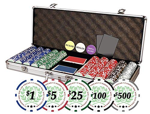 (DA VINCI Professional Casino Del Sol Poker Chips Set with Case (Set of 500), 11.5gm)