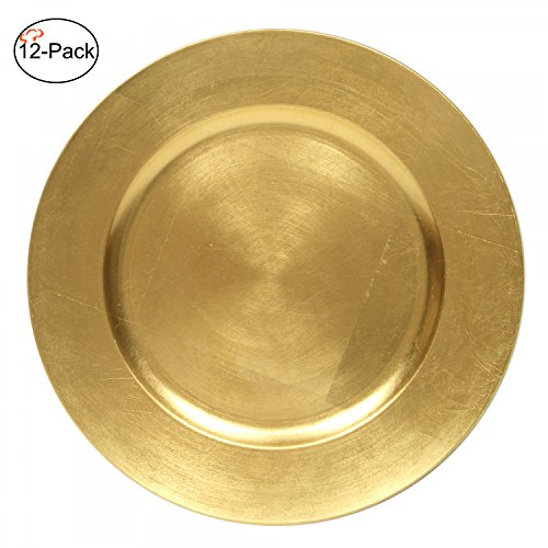 Tiger Chef 13-Inch Gold Metallic Charger Plates Set of 2,4,6, 12 or 24 Dinner Chargers (12-Pack) (Shiny Gold Plate)