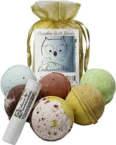 Bath Bombs, w/FREE Lip Balm Gift Set from Enhance Me, Organic Sustainable Palm Oil, Handmade in USA with Shea Butter, Coconut Oil, 6 Bomb Gift Set, 'See, Smell, & Feel the Difference'