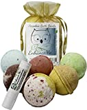 Bath Bombs, w/FREE Lip Balm Gift Set, Organic Sustainable Palm Oil, from Enhance Me, Handmade in USA with Lush Shea Butter,...