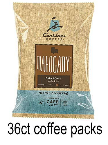 Caribou Coffee One-Cup Coffee Filter Packs with Disposable Brew Basket for use with Café Valet Single-Serve Brewers, 36Count, Mahogany Dark roast
