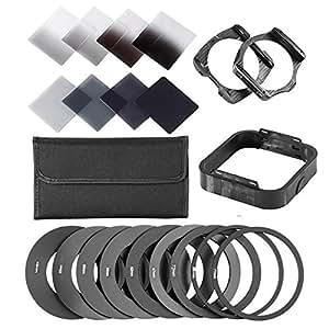 QKOO Gradient Neutral Density Complete & Gradual ND Square Filter Kit + Adapter rings for Cokin P Series SLR DSLR Camera Lens