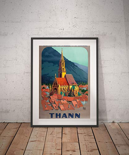 Les Connie thann Saint Thibaut St Theobald Church Alsace Haut Rhin thann Travel Poster Framed Alsace Poster Framed Travel Poster Framed Wall Decor Vintage