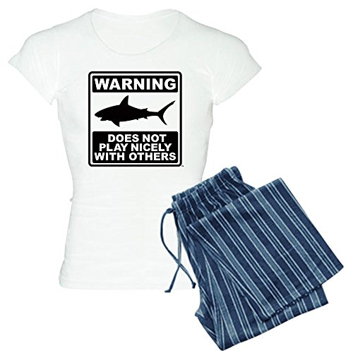 CafePress Shark Does Not Play Nicely - Womens Novelty Cotton Pajama Set, Comfortable PJ Sleepwear (Shark Footed Pajamas Adult)