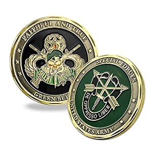 Indeep United States Army Special Forces Challenge Coin Faithful and True Green Beret Coin by Indeep