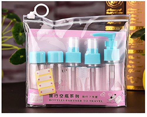 Tukistore 7 pezzi / set viaggio bottiglia set per trucco cosmetici articoli da toeletta liquido contenitore a prova di perdite bottiglia spray portatile, plastica viaggio portatile dimensioni bottigli Blu#2