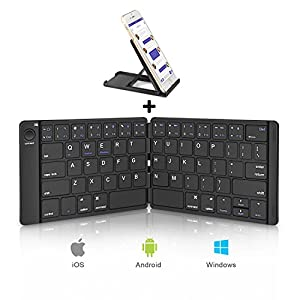 Portable Folding Keyboard, Sounwill Pocket Size Ultra Slim Foldable Wireless Bluetooth Keyboard with Stand Holder, Premium Leather, Silent Typing, for iPad, iPhone, Tablets and More--Black