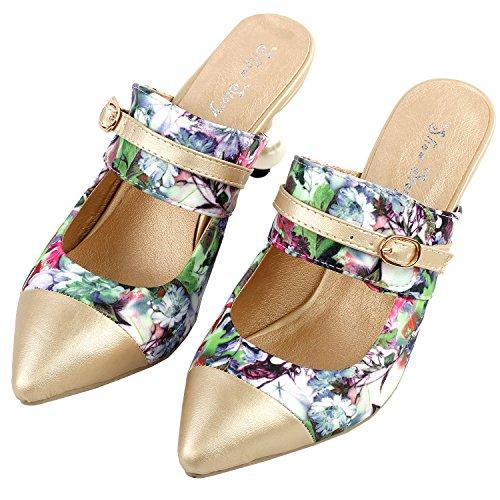 Mostrar historia increíble estampado Floral tobillo correas señaló Toe exquisita perla talón vestido bomba, LF60403 Verde