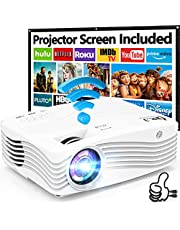 """7500Lumens Upgraded Native 1080P Projector, Full HD WiFi Projector Synchronize Smartphone Screen, Compatible with TV Stick/HDMI/PS4/DVD Player/AV for Outdoor Movies [Packed with 120"""" Projector Screen]"""