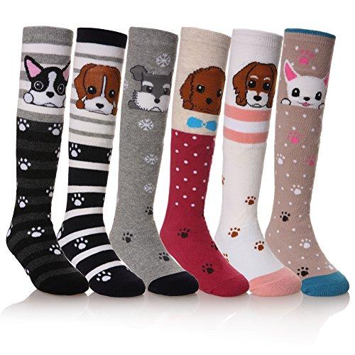 NOVCO Girls Knee High Socks Cartoon Animal Patterns Cotton Over Calf Socks (6 Pairs Dog)