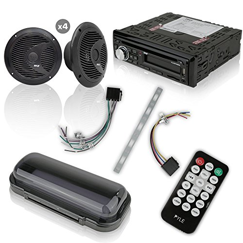 Wireless Bluetooth Marine Audio Stereo - Kit w/Single DIN Universal Size Radio Receiver, Hands-Free Calling, 6.5