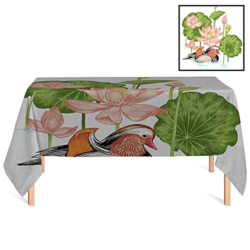 SATVSHOP Premium Fitted Tablecloth /55x102 Rectangular,Duck Baby Mandarin Duckling in Pond with Lotus Lily Flowers Water Painting Style Arsty White Green Pink.for Wedding/Banquet/Restaurant. -