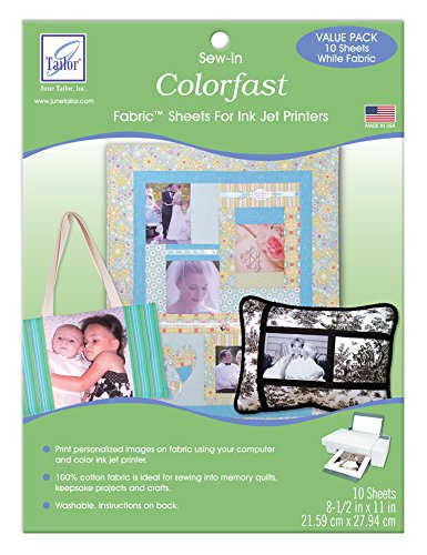 10-pack Colorfast White Printer Fabric by June Tailor