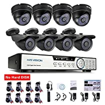 HISVISION 8-Channel HD-TVI 720P 1080N Video Security DVR and 4x 1.0MP Outdoor Weatherproof Bullet Cameras (Metal) 4x Indoor Dome Cameras (Plastic) 100ft 30m Night Vision LEDs with IR Cut NO Hard Drive