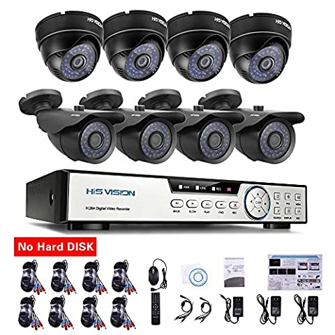 HISVISION 8-Channel HD-TVI 720P 1080N Video Security DVR and 4x 1.0MP Outdoor Weatherproof Bullet Cameras (Metal) 4x Indoor Dome Cameras (Plastic) 100ft 30m Night Vision LEDs with IR Cut NO Hard - Everfocus Alarm