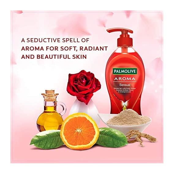 Palmolive Body Wash Aroma Sensual, 750ml Pump, Shower Gel with Exotic Orange Essential Oil, Rose Flower & Ginseng