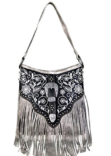 Buckle West Fringe Hippy Hobo Montana Shoulder Bag Purse Floral Black Carry Concealed 0RHtdq