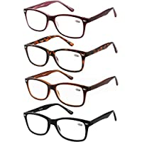 Eyecedar 4-Pack Reading Glasses Women Flexible Material Square Frame Metal Spring Hinges Include Cloth Pouch Readers 1.50