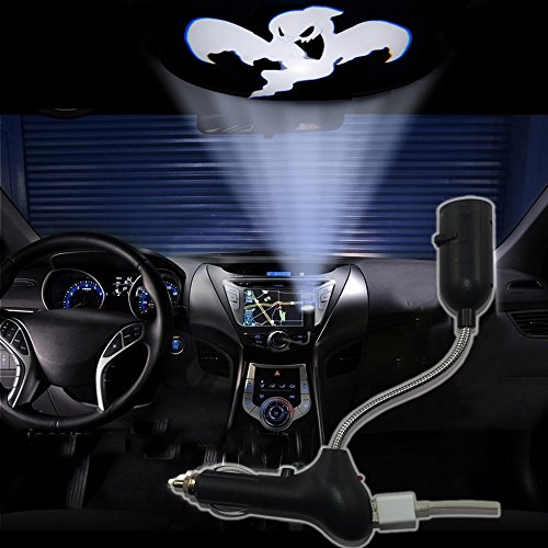 SHE'O® Halloween White flying Ghost USB Car Cigarette lighter roof logo laser projector shadow ghost LED light lamp projection light atmosphere reading light ON/OFF Switch 360 degree -