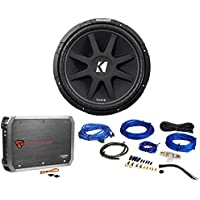 Package: KICKER 43C154 Comp 15 600 Watt Car Subwoofer With Single Voice Coil + Rockville RXA-T1 Car Amplifier 1500 Watt Peak 2 Channel Bridgeable + RWK81 8 Gauge Complete Wire Kit with RCA Cable