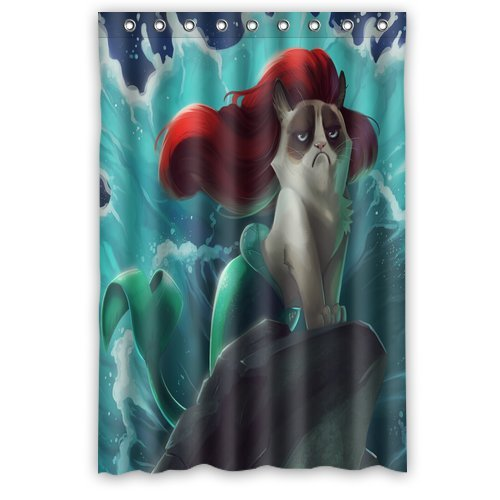 "Scottshop Custom Grumpy Cat Little Mermaid Shower Curtain High Quality Waterproof Polyester Fabric Bathroom Shower Curtains 48"" x 72"" Inch"