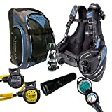 Cressi Travelight 15 LBS Scuba Diving Package Carry On Reg Dive Computer 6 Blue Kraken Dive Torch Men-XL