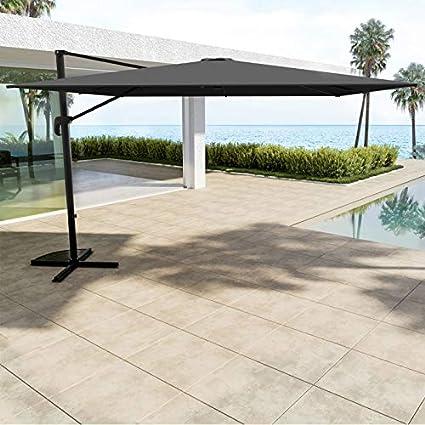Avril Paris - Sombrilla Cuadrada (3 x 3 m, Aluminio, giratoria 360º), Color Gris: Amazon.es: Jardín