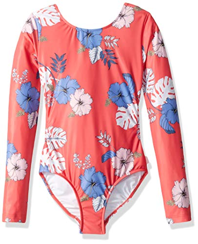 Seafolly Big Girls' Long Sleeve Surf Tank One Piece Swimsuit, Tropical Vibes Hibiscus red, 12