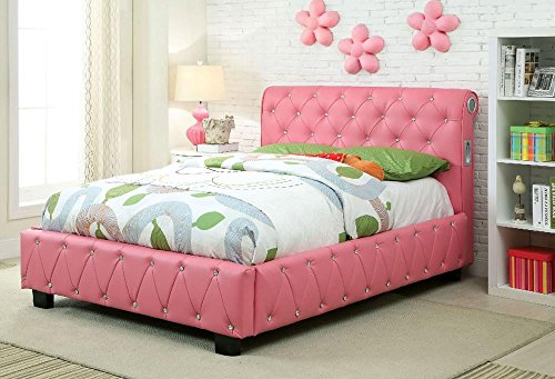 Price comparison product image Radnor Leather PU Button Tufted Full Bed - Pink