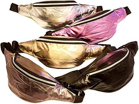 Bauchtasche G/ürteltasche im Metalic Look Gold Silber Pink Schwarz Event Party Festival Gold