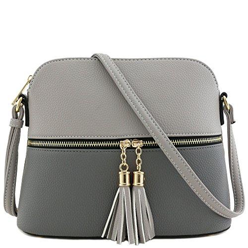 Tassel Zipper Pocket Crossbody Bag (Grey/Dark Grey) ()