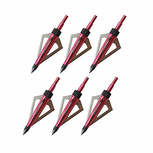 6pk Archery Hunting Razor Sharp Broadheads with 3 Blades 100 Grain for Compound Bow and Crossbow Bolts (Red) (Compound Bow Target Sights compare prices)