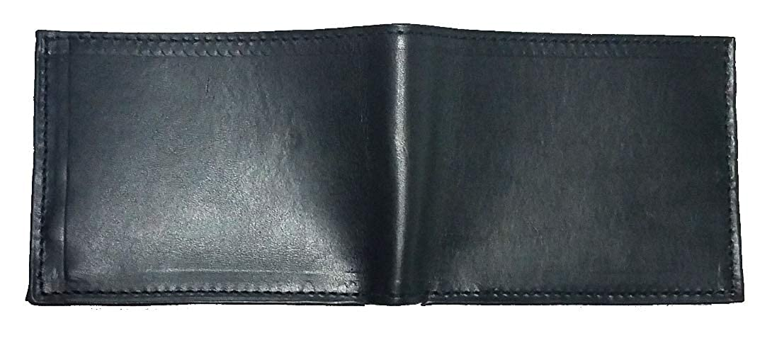 Proudly made in the USA. Custom 1 inch Texas Mason Concho on a Black Harness Leather Bi-fold Wallet
