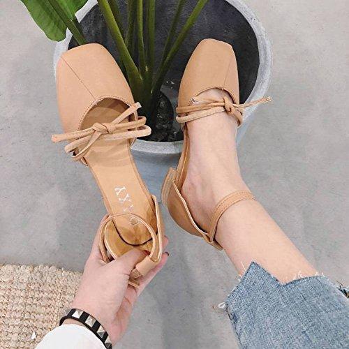 Sandalias Femeninas Hong Kong Abuela Retro Áspera con el Medio Y Salvaje Mary Jane Zapatos Mujeres Sandalias de Moda Adulto Caucho Cabeza Cuadrada en el Talón (3-5Cm) Cerrojo Aumentar Transpirable Zap