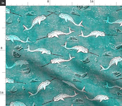 Narwhal Fabric - Symphony (Aqua) Modern Nursery Decor Whale Sea Ice Water Ocean Nouveau Bohemian Print on Fabric by the Yard - Petal Signature Cotton for Sewing Quilting Apparel Crafts - Symphony Broadcloth